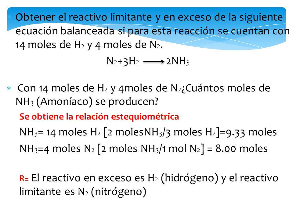 NH3= 14 moles H2 [2 molesNH3/3 moles H2]=9.33 moles